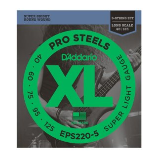 D'Addario EPS220-5 ProSteels 5-String Bass, Super Light, 40-125, Long Scale on RigShare