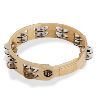 """Latin Percussion Accent 10"""" Double Row Wood Tambourine With Steel Jingles on RigShare"""