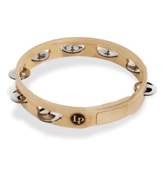 """Latin Percussion Accent 10"""" Single Row Wood Tambourine With Steel Jingles on RigShare"""